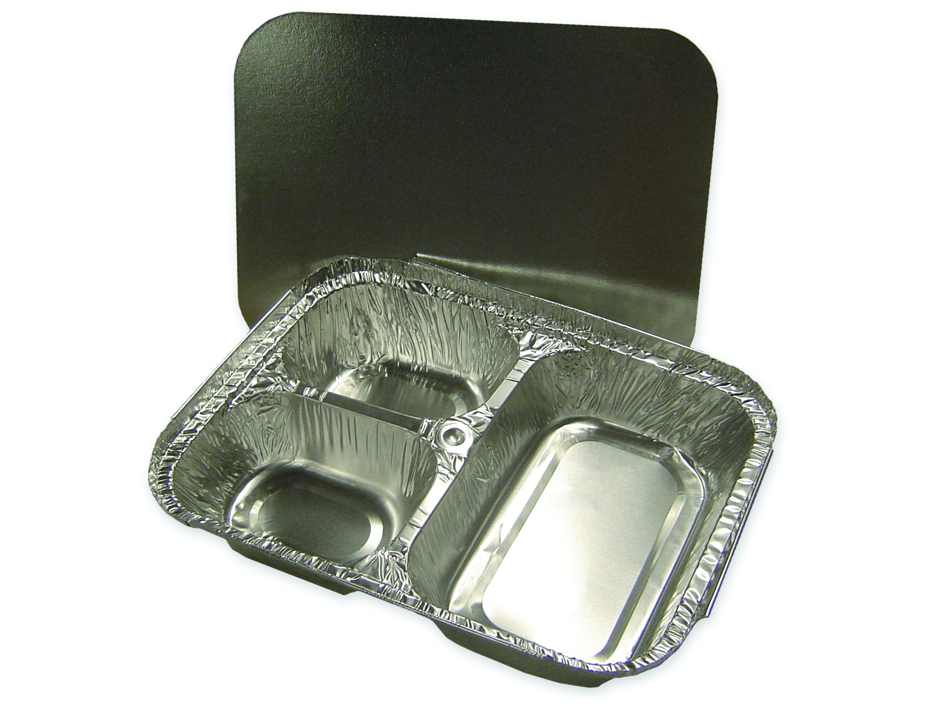 Three compartment aluminum container