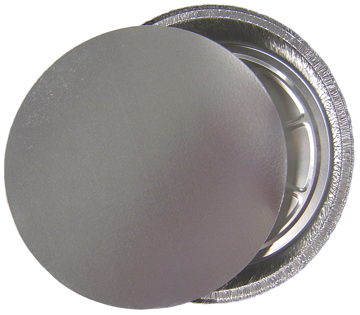 Silver Round Lid and Aluminum Tray